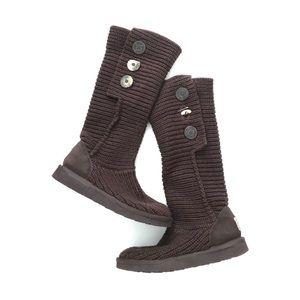 UGG Australia Knit Boots 5819 Brown Three Button